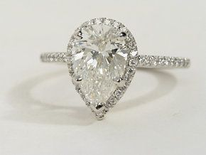 This is the one......Pear Shaped Halo Diamond Engagement Ring in Platinum #BlueNile #Engagement #Ring