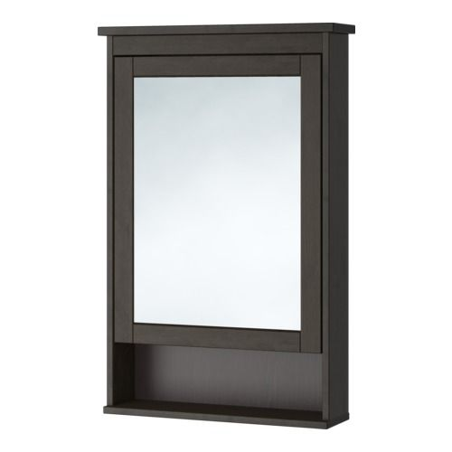IKEA - HEMNES, Mirror cabinet with 1 door, black-brown stain, , The adjustable shelf is extra heat- and impact-resistant and has a high load-bearing capacity since it is made of tempered glass.The mirror comes with safety film on the back, which reduces the risk of injury if the glass is broken.