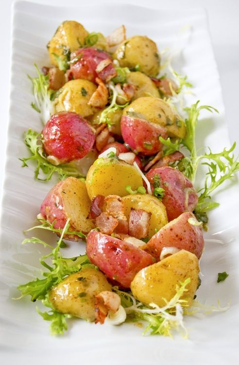 Warm potato salad with mustard dressing