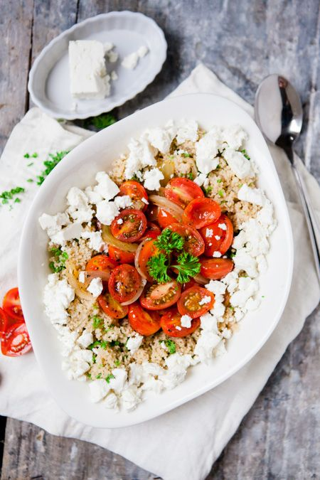 Couscous mit geschmorten Tomaten und Feta - www.kuechenchaotin.de
