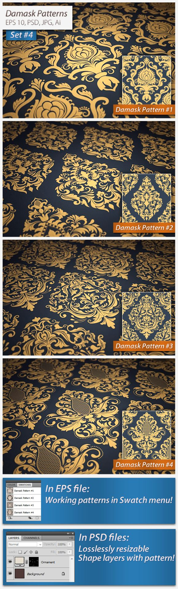 Check out 4 Vector Seamless Damask Patterns by GarryKillian on Creative Market