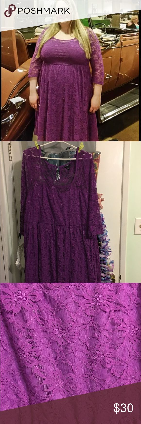 2X purple lace dress torrid Beautiful purple lace dress 2X from Torrid Wore once for a Wedding torrid Dresses