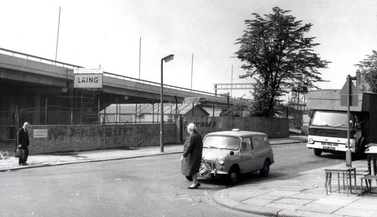 Westway flyover construction (late 60s) over Portobelllo Road. The building site shed is where the Westway market canopy now stands! At the time there used to be a weekend flea market on the waste ground with fly pitchers! This became the Westway Market which started the N.K.A.T.  https://rbkclocalstudies.wordpress.com/2012/02/23/the-writing-on-the-wall-old-school-graffiti-in-kensington-and-chelsea/ By Dave Walker from Roger Perry and George Melly's 1976 book on London graffiti