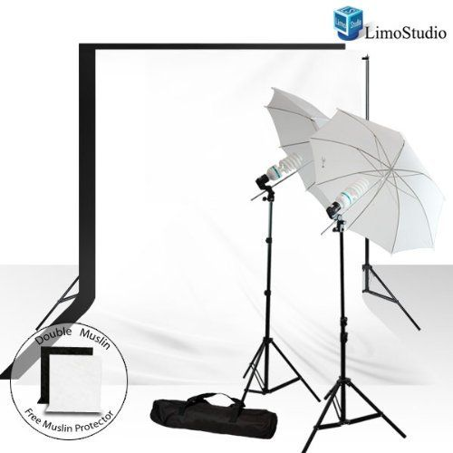 """LimoStudio 400W Photography Lighting Light Kit + 10' x 10' 100% Cotton Black Muslin Backdrop Background + 10' x 10' 100% Cotton White Muslin Backdrop Background + FREE BONUS White Black Muslin Protector Photo Portrait Studio 33"""" Umbrella Continuous Lighting Kit, AGG239 by LimoStudio. $90.67. This set up uses professional quality materials and provides excellent results as a stand-alone unit. It will also integrate perfectly with any additional studio lighting ..."""
