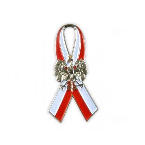 Polish Eagle on Poland Flag Ribbon - Lapel Pin