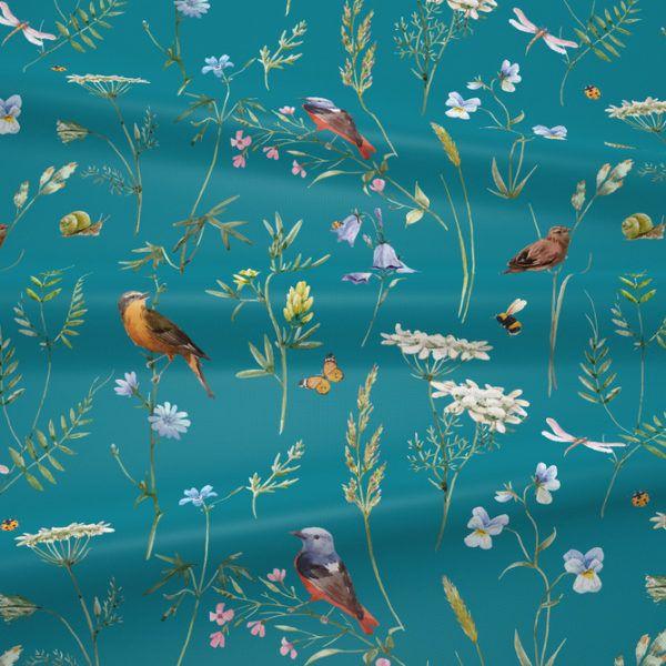 Gruba Bawelna Premium Ptaki I Polne Kwiaty Na Teal House Of Cotton Painting Art Decor