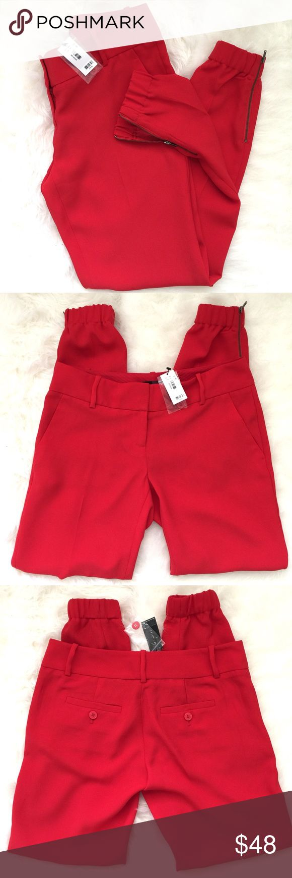 "NWT The Limited Red Drapey Zip Ankle Pants New with tag! This slouchy, tapered leg is the epitome of contemporary fashion! Show off your style by pairing these pants w sky-high heels! Drapey lightweight woven 2 hook-and-tab waist with inner button and zip fly, belt loops Slash front pockets, buttoned welt back pockets Elastic cuffs with exposed zip ankles Inseam: Regular=29"" 100% Polyester Machine wash. Tumble dry.  Unfortunately haven't had a chance to wear these yet & they are too fabulous…"