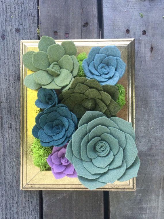 made to order wool felt succulent vertical garden mini 4x6 // container garden // home decor