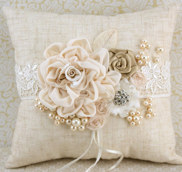 Ring Bearer Pillow and Flower Girl Basket in Ivory with Linen, Lace and Pearls- Shabby Chic Rustic Wedding