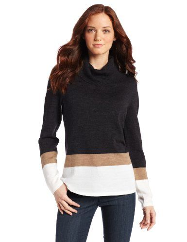 $86.40 - $101.33 awesome Pendleton Womens Petite Placed Stripe Cowl Sweater