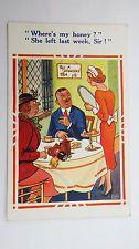 1950s Risque Vintage Comic Postcard Tea Shop Cafe Diner Redhead Nippy Waitress