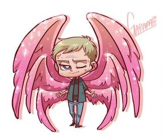 The fabulous Archangel Lucifer with his pink sparkly pair of wings. I really love Mark Pellegrino's headcanon by the way. XD
