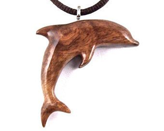 Dolphin Pendant Necklace, Wooden Dolphin Necklace, Dolphin Pendant, Dolphin Jewelry, Nautical Jewelry, Wood Jewelry, Carved Wooden Pendant