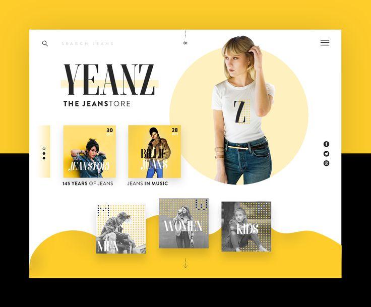 UI design idea for an online jeans store.