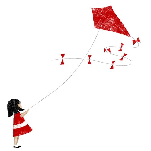 // Little girl and her kite. //