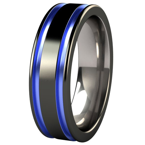 black and blue mens wedding band abyss black diamond plated colored titanium ring - Titanium Wedding Rings For Men
