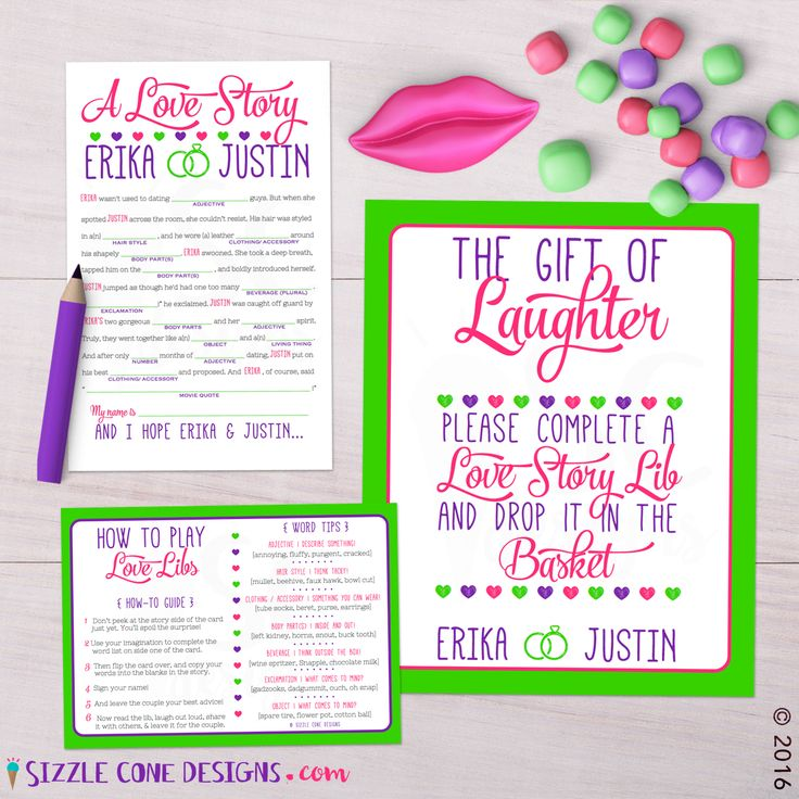 Funny Love Story Mad Lib Bridal Shower Game (Printable Or