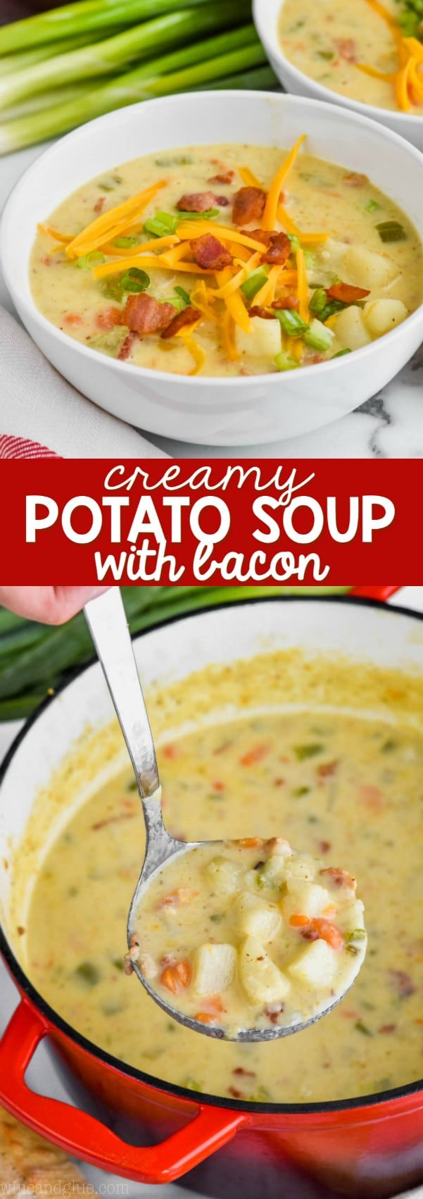 This Creamy Potato Soup with Bacon is the perfect winter soup.  Made with simpl…
