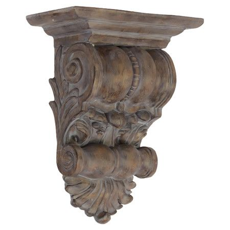 Weathered Wall Corbel With Classical Scroll And Laurel