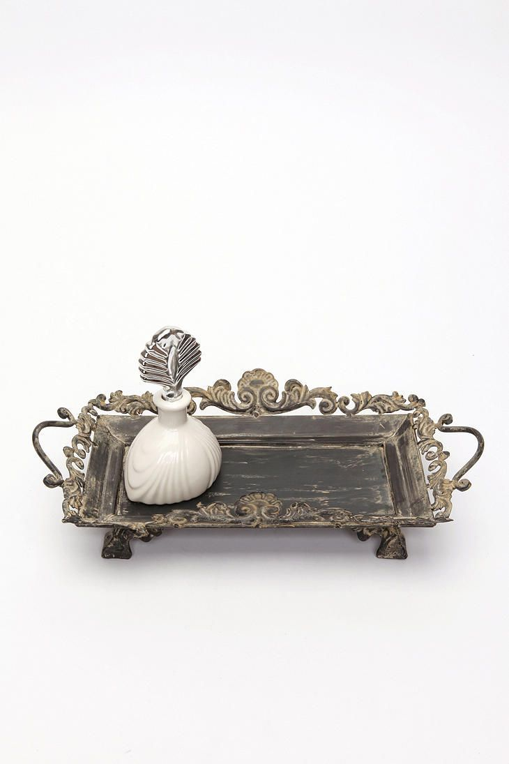 Antique vanity tray with lace insert - Perfume Holder Tray Scroll Vanity Tray Would Look So Pretty With A Few Bottles