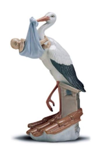 Lladro Figurine 6382 New Arrival Stork With Baby Boy Mint