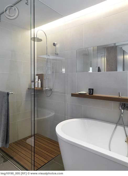 glass enclosure + wood floor -- make the doors fold in to save space when not using the shower