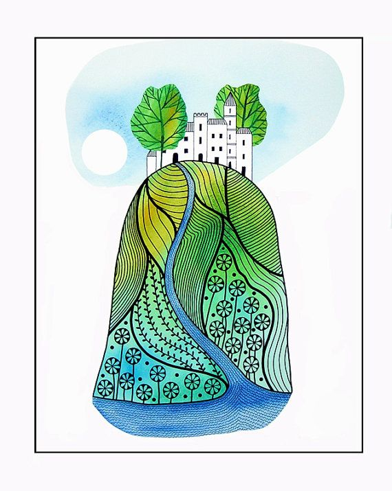 """10"""" x 8"""" Watercolor Painting Print Green White Blue Landscape Hill Buildings Trees Illustration Drawing Stylised"""