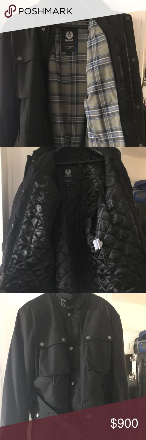 Belstaff road master motorcycle jacket NEW, NEVER WORN, Size XXL, black outside and plaid printed inside  Armor embedded in elbows and shoulders, Cordura fabric, weather resistant, Zip out quilted vest included, 4 outside pockets & 1 zippered inside pocket   European size XXL, about a US size XL Belstaff Jackets & Coats Performance Jackets