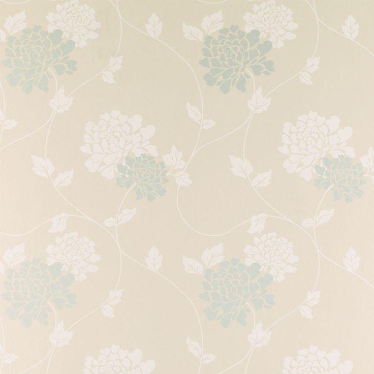 Laura ashley isodore eau de nil floral wallpaper for Eau de nil bedroom ideas