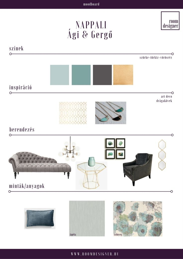 Moodboard/ szürke-türkiz art deco inspirálta nappali Room Designer - Lakberendezés.Online.Fix áron.