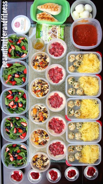 Meal Prep Monday - here are some ideas to get you meal prepping this week: Summer Berry Chicken Salad, Slow Cooker Verde Chicken, Peanut Butter and Jelly Overnight Oats, Turkey Spinach Meatballs with Spaghetti Squash and snacks.  Complete with recipes and nutrition info! #MealPrepMonday
