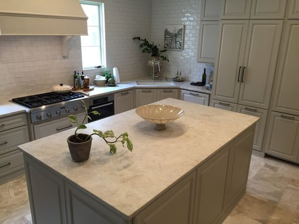 Taj Mahal leathered QUARTZITE countertops by Luxury Countertops