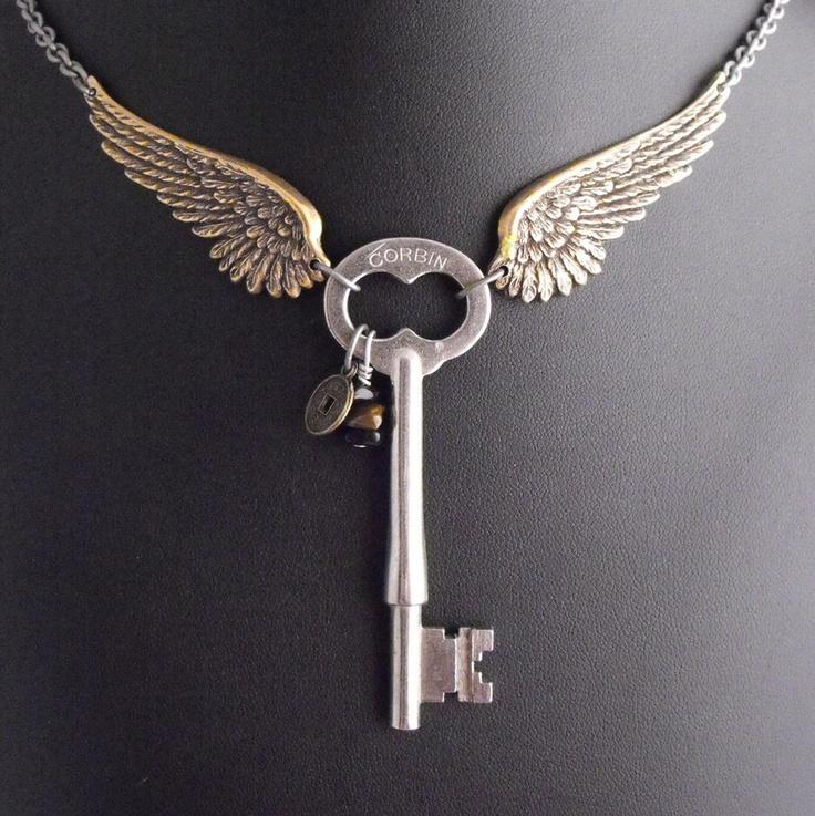 Guardian Angel of the Machina Artful Hardware Pendant. $70.00, via Etsy.