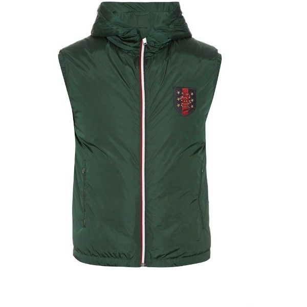 Gucci Hooded quilted-down gilet (2,305 CAD) ❤ liked on Polyvore featuring men's fashion, men's clothing, men's outerwear, men's vests, mens zipper vest, mens down vest, mens slim fit vest, mens zip up vest and mens quilted vest