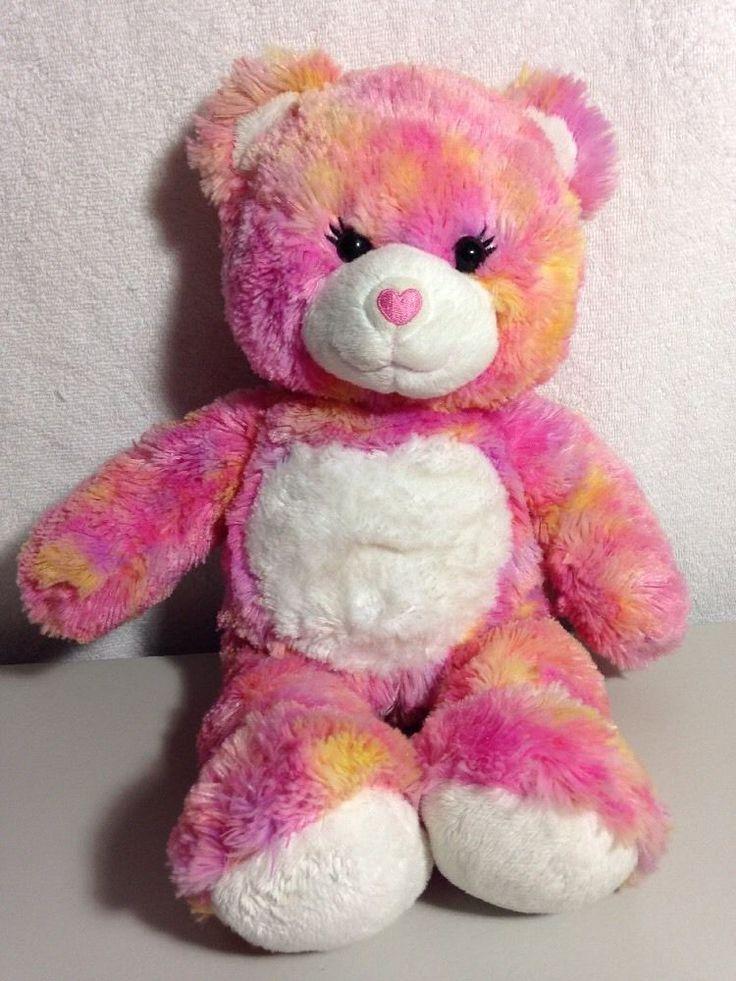 CUTE Build A Bear Workshop Plush Pink / Yellow Tie-dye Girl Bear, Big Eyelashes #BuildaBear