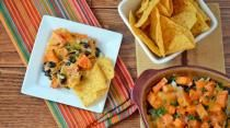 Spicy and cheesy these Sweet Potato Nachos are an addictive addition to a Thursday night game.