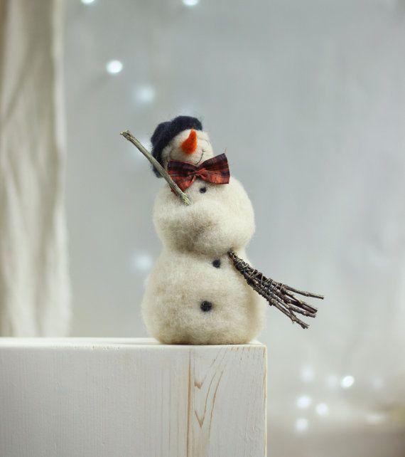 Needle Felt Snowman - Christmas Decoration - Dreamy  White Snowman - Christmas Home Decoration - Needle Felted Art Doll