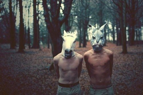 boy, boys, bunny, horse, mask: Forests, Rabbit, Drop Of Jupiter, Except, Wood, Animal Head, Animal Masks, Wild One, Book Series