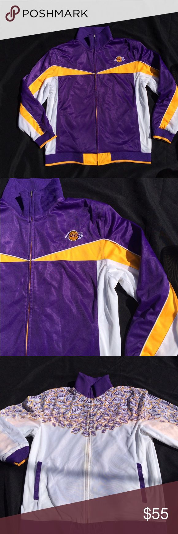Los angeles lakers reversable jacket large kobe 30' top to bottom 24' pit to pit Jackets & Coats