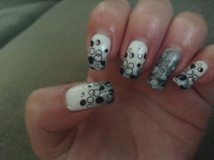 Black grey and white with stamped bubbles