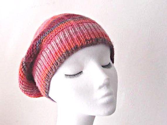 Knitted slouchy hat, multicoloured slouchie hat, Winter hat, teen hat, Winter accessories, uk hats, ladies hat, rasta hat