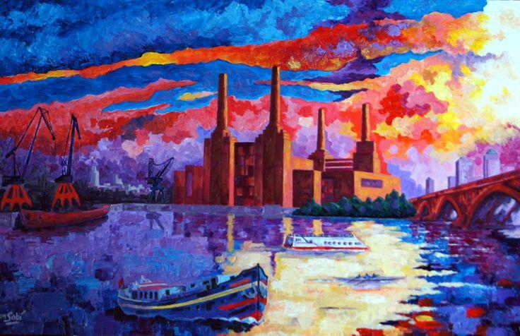 # 244 Battersea Power - Autor: RomSabi, acrílico y esmaltes sobre plafón de algodon, 70x50cm.