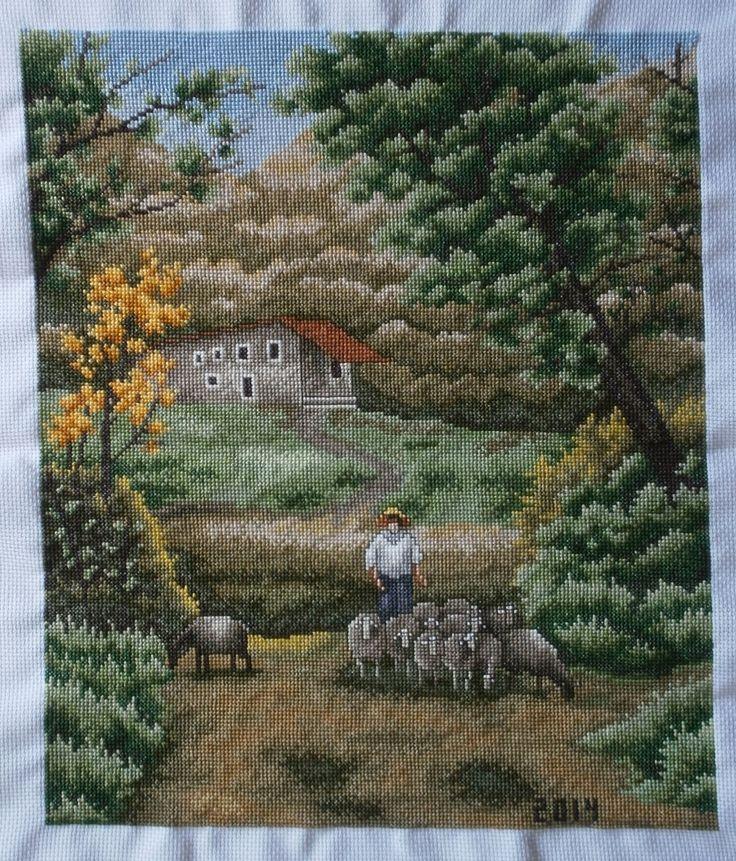 paisaje con ovejas punto de cruz