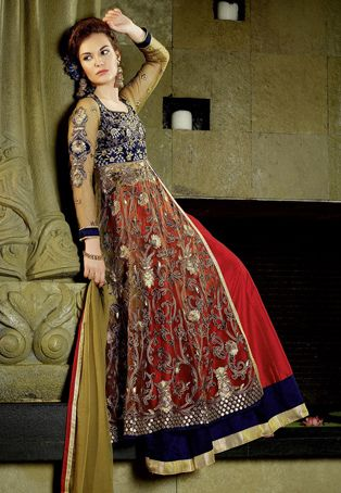 Red Art Silk Lehenga Choli with Dupatta