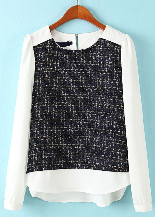 Navy White Long Sleeve Plaid Chiffon Blouse US$24.49