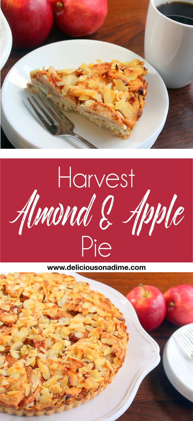 Apple & Almond Pie - Such an amazing fall dessert!  Creamy, rich and incredibly addictive!  Everyone will want your recipe.  PERFECT for Thanksgiving!  #Thanksgivingdesserts #falldesserts #Thanksgivingrecipes #bestappledessert