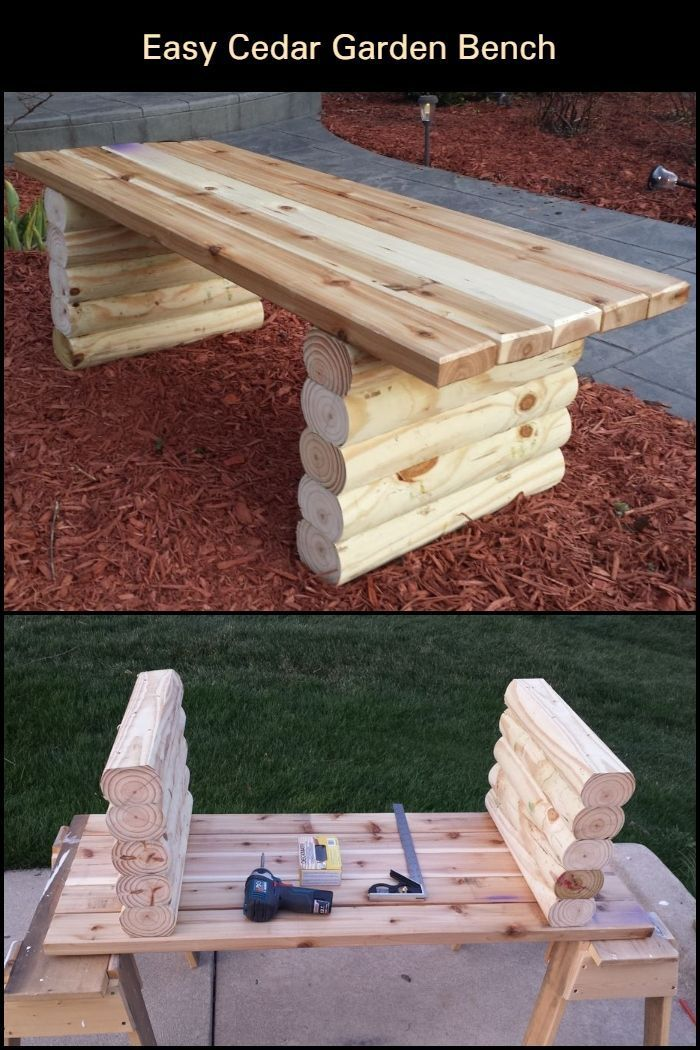 How To Build A Garden Bench From Cedar Rest After A Long Stroll Or Gardening Exercise With In 2020 Outdoor Diy Projects Backyard Diy Projects Woodworking Projects Diy