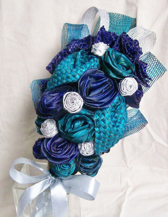 Purple, Blue and Turquoise Bridal Bouquet with silver flax netting and buds