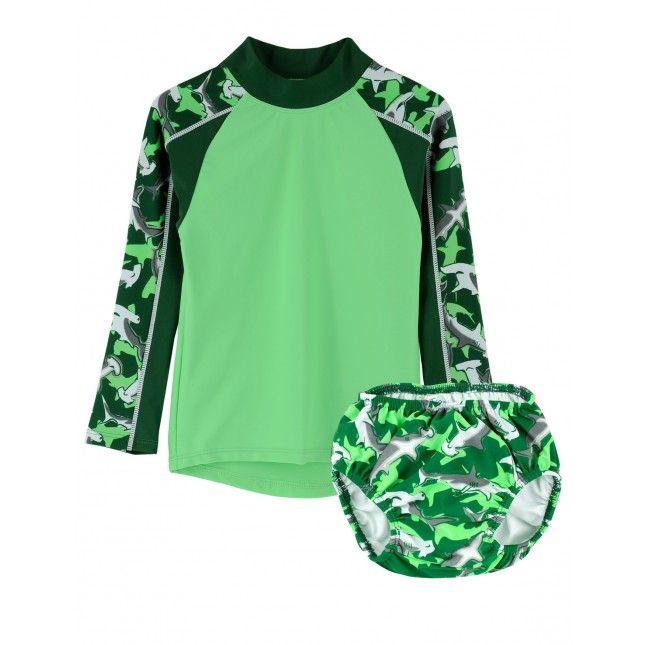 TUGA: Boy's UV Protective Tube Longsleeve Rashguard Shirt and Swim Diaper Set in Shark Print. Click Image to SHOP ONLINE!