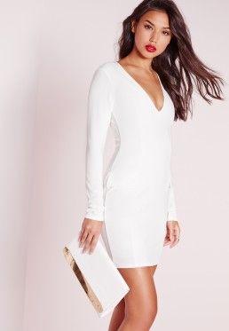 Robe moulante blanche avec poches